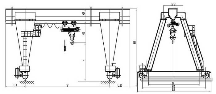 Single Girder Eot Crane Drawing : A frame crane design trolley lifting mechanism